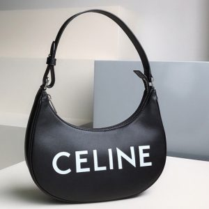 Replica Celine 193953 Ava Bag in Black smooth calfskin with celine print