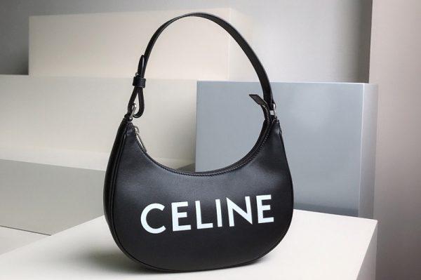 Replica Celine 193953 Ava Bag in Black smooth calfskin with celine print