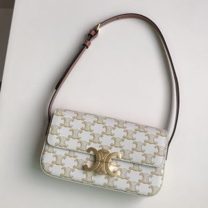Replica Celine 194142 triomphe shoulder bag in Whtie triomphe canvas and calfksin