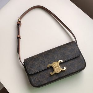 Replica Celine 194142 triomphe shoulder bag in triomphe canvas and tan calfksin