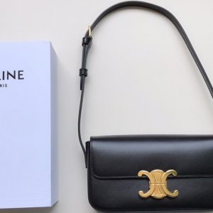 Replica Celine 194143 triomphe shoulder bag in Black shiny calfskin Leather