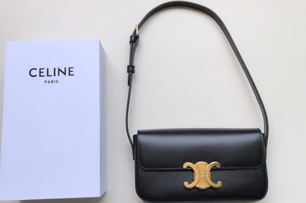 Replica Celine 194143 triomphe shoulder bag in Black shiny calfskin Leather