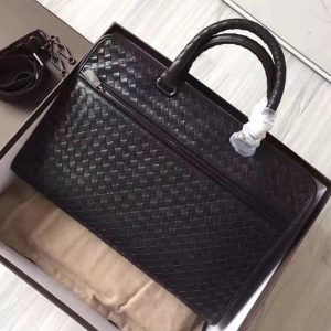 Replica Bottega Veneta 248395 briefcase Bag IN Black Intrecciato calf leather