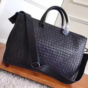 Replica Bottega Veneta 357310 briefcase Bag IN Black Intrecciato calf leather