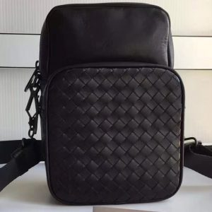 Replica Bottega Veneta 407385 messenger bag IN Black Intrecciato calf leather