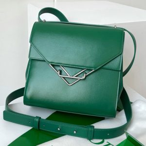 Replica Bottega Veneta 652391 The Clip Squared shoulder bag in Green Box Calf Leather