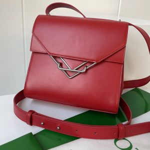 Replica Bottega Veneta 652391 The Clip Squared shoulder bag in Red Box Calf Leather