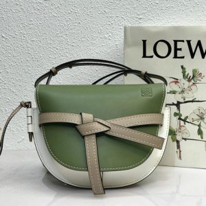 Replica Loewe Small Gate bag in Avocado Green/Sand soft calfskin