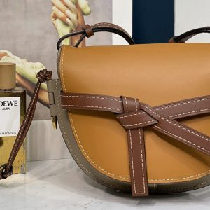 Replica Loewe Small Gate bag in Amber/Light Grey/Rust Colour soft calfskin