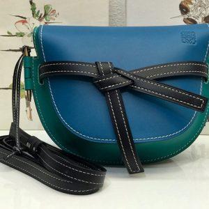 Replica Loewe Small Gate bag in Green/Blue soft calfskin