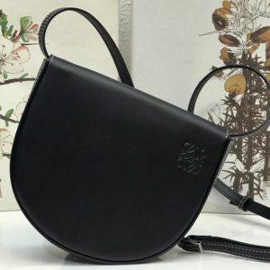 Replica Loewe Heel Duo bag in Black soft natural calfskin