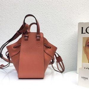 Replica Loewe Mini Hammock Drawstring bag in Brown soft grained calfskin