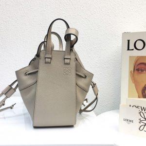 Replica Loewe Mini Hammock Drawstring bag in Gray soft grained calfskin