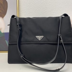 Replica Prada 1BD182 invites Shoulder bag in black nylon