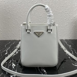 Replica Prada 1BH183 Saffiano leather mini bag in White Saffiano leather