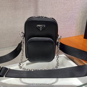Replica Prada 1BH183 Saffiano leather mini bag in Black Saffiano leather