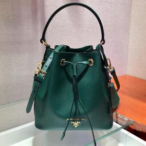Replica Prada 1BE032 Saffiano Leather Bucket Bag in Green Saffiano leather