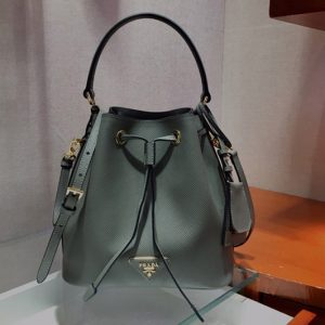 Replica Prada 1BE032 Saffiano Leather Bucket Bag in Gray Saffiano leather