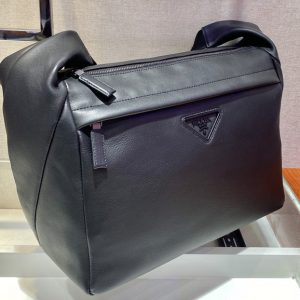 Replica Prada 2VH125 Leather shoulder bag in Black soft leather