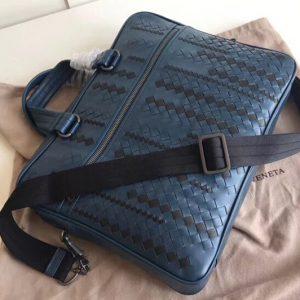 Replica Bottega Veneta 523320 briefcase Bag IN Blue Intrecciato Leather