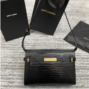 Replica Saint Laurent 579271 YSL MANHATTAN SHOULDER BAG IN CROCODILE-EMBOSSED SHINY LEATHER With Gold Hardware