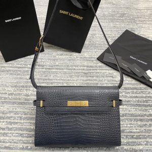 Replica Saint Laurent 579271 YSL MANHATTAN SHOULDER BAG IN Gray CROCODILE-EMBOSSED SHINY LEATHER