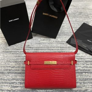Replica Saint Laurent 579271 YSL MANHATTAN SHOULDER BAG IN Red CROCODILE-EMBOSSED SHINY LEATHER