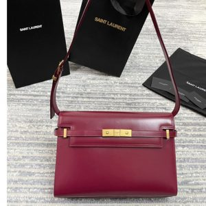 Replica Saint Laurent 579271 YSL MANHATTAN SHOULDER BAG IN Red SMOOTH LEATHER