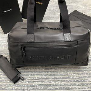 Replica Saint Laurent 594400 YSL LARGE DUFFLE BAG in Black MOOTH LAMBSKIN