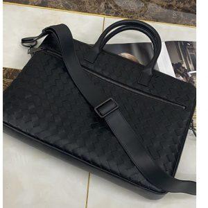 Replica Bottega Veneta 603441 Briefcase bag IN Black Intrecciato Leather