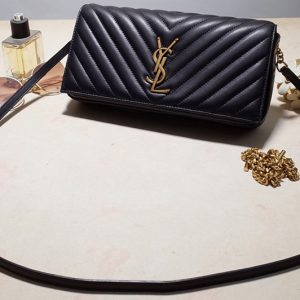 Replica Saint Laurent 6320141 YSL KATE 99 Bag IN Black QUILTED LAMBSKIN With Gold Chain
