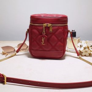 Replica Saint Laurent 649779 YSL 80's vanity bag in Red carre quilted grain de poudre embossed leather