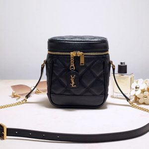 Replica Saint Laurent 649779 YSL 80's vanity bag in Black carre quilted grain de poudre embossed leather