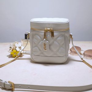 Replica Saint Laurent 649779 YSL 80's vanity bag in White carre quilted grain de poudre embossed leather