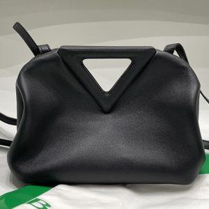 Replica Bottega Veneta 658476 Point Leather top handle bag in Black Calf Leather