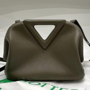 Replica Bottega Veneta 658476 Point Leather top handle bag in Green Calf Leather