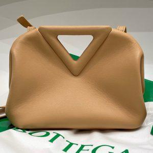 Replica Bottega Veneta 658476 Point Leather top handle bag in Sand Calf Leather
