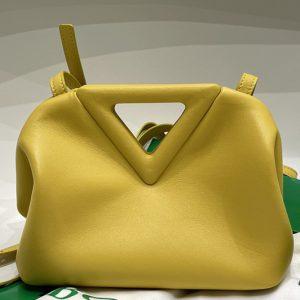 Replica Bottega Veneta 658476 Point Leather top handle bag in Yellow Calf Leather