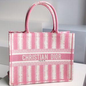 Replica Christian Dior M1296 Small Dior Book Tote Bag in Pink D-Stripes Embroidery