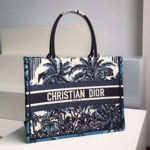 Replica Christian Dior M1296 Small Dior Book Tote Bag in Blue Dior Palms Embroidery