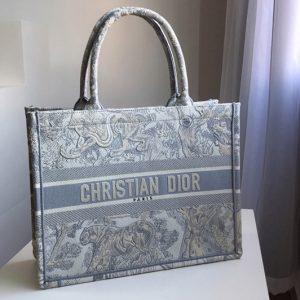 Replica Christian Dior M1296 Small Dior Book Tote Bag in Gray Toile de Jouy Embroidery