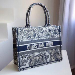 Replica Christian Dior M1296 Small Dior Book Tote Bag in Blue Toile de Jouy embroidery