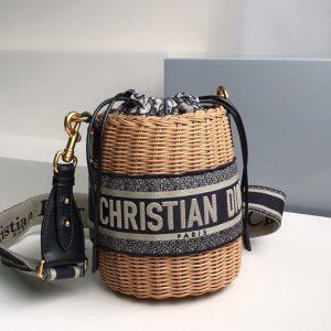 Replica Christian Dior M7600 Dior Wicker bucket bag in Blue Dior Oblique Jacquard and Natural Wicker