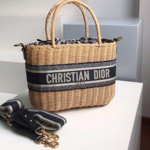 Replica Christian Dior M7601 Dior Wicker basket bag in Blue Dior Oblique Jacquard and Natural Wicker